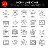 Thin Line Icons Set of Search Engine Optimization Stock Photography