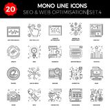 Thin Line Icons Set of Search Engine Optimization Stock Photos