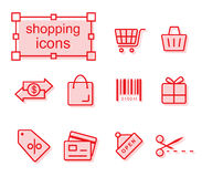 Thin line icons set, Shopping. Thin line icons set, Linear symbols set, Shopping Royalty Free Stock Photos