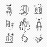 Thin line icons set of smartphone. Stock Photo