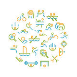 Thin line icons set of sport, summer olympic games. Stock Images
