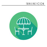 Thin line icons set. Table and chair outside. Outdoors. Silhouette street cafe, restaurant sign. Food service. Patio. Furniture symbol. Vector style linear Royalty Free Stock Photography