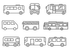 Thin line icons Bus set vector illustration