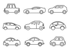 Thin line icons transportation vector illustration