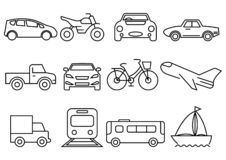 Thin line icons transportation set stock illustration