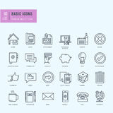 Thin line icons set. Universal icons for website and app design. Stock Photos