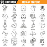 Thin line icons set of various mental features of human brain Royalty Free Stock Images