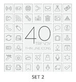 40 Thin Line Icons. Set 2. Royalty Free Stock Photography