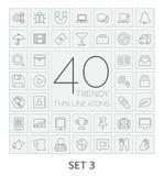 40 Thin Line Icons. Set 3. Stock Photos