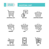 Thin line icons. Shopping cart Royalty Free Stock Photography