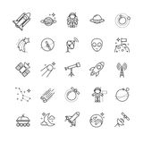 Thin line icons - space, astronomy set. For your design Stock Photos
