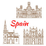 Thin line icons of Spanish landmarks Royalty Free Stock Photos