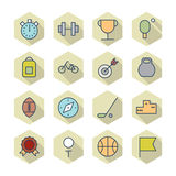 Thin Line Icons For Sport Royalty Free Stock Images