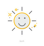 Thin line icons, Sun Royalty Free Stock Images
