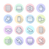 Thin Line Icons For Technology Royalty Free Stock Photography