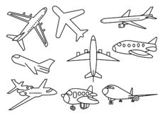 Thin line icons transportation royalty free illustration