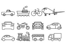 Thin line icons transportation set vector illustration