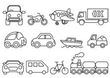 Thin line icons transportation set royalty free illustration