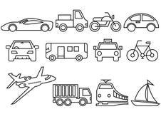 Thin line icons transportation set royalty free illustration