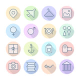 Thin Line Icons For Travel and Resort Stock Photography