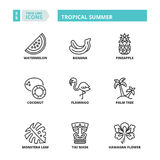Thin line icons. Tropical summer Royalty Free Stock Image