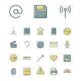 Thin line icons for user inteface and technology Stock Image