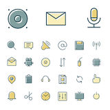 Thin line icons for user interface and technology Stock Photography