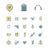 Thin line icons for user interface and technology Royalty Free Stock Photo