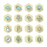 Thin Line Icons For Weather and Nature Royalty Free Stock Images