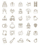Thin line icons wedding set. Outline with adjustable stroke. Engagement and marriage ceremony accesories, objects, symbols. Vector Stock Photo