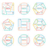 Thin line infographics vector elements for business presentation with options parts steps and processes. Illustration charts in form hexagon, pentagon and royalty free illustration