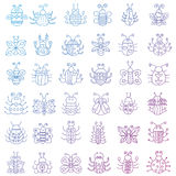 Thin line insects icons set. Color stroke outline Butterfly, bugs collection. Thin line insects icons set. Color outline Butterfly, bugs collection Royalty Free Stock Photo
