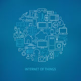 Thin Line Internet of Things Icons Set Circle Concept. Vector Illustration of Smart Home Technology Modern Objects over Blue Blurred Background Stock Photography