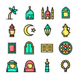 Thin line Islam icons set, vector illustration stock illustration