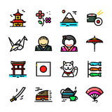 Thin line Japan icons set, vector illustration Stock Photos