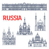 Thin line landmarks for tourism in Russia or USSR Royalty Free Stock Photo