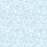 Thin Line Law Attorney and Justice White Seamless Pattern Royalty Free Stock Image
