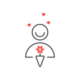 Thin line man with bouquet Royalty Free Stock Image
