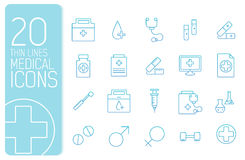 Thin line medical set icons concept. Vector Royalty Free Stock Photography