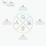 Thin line minimal arrow business cycle template. Thin line minimal arrow business infographic pizza circle template. Vector illustration. Can be used for Royalty Free Stock Image