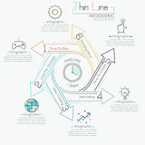 Thin line minimal arrow business cycle template. Thin line minimal arrow business cycle infographic template. Vector illustration. Can be used for workflow Royalty Free Stock Image