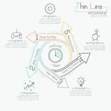 Thin line minimal arrow business cycle template. Thin line minimal arrow business cycle infographic template. Vector illustration. Can be used for workflow Royalty Free Stock Photo