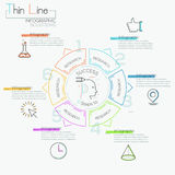 Thin line minimal arrow business cycle template. Thin line minimal arrow business cycle infographic template. Vector illustration. Can be used for workflow Royalty Free Stock Images