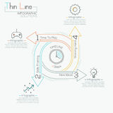 Thin line minimal arrow business cycle template. Thin line minimal arrow business cycle infographic template. Vector illustration. Can be used for workflow Stock Photo