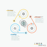 Thin line minimal arrow business cycle template. Thin line minimal arrow business cycle infographic template. Vector illustration. Can be used for workflow Stock Photos