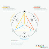 Thin line minimal arrow business cycle template. Stock Photography
