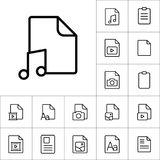 Thin line music, audio file icon, different type file icons set. On white background Stock Photos