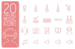 Thin line music set icons concept. Vector Royalty Free Stock Images