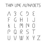 Thin line and narrow English alphabets or letters - vector icons Stock Photography