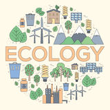 Thin line natural resources modern illustration concept. Infographic way from ecology to clean energy. Icons on  Royalty Free Stock Images